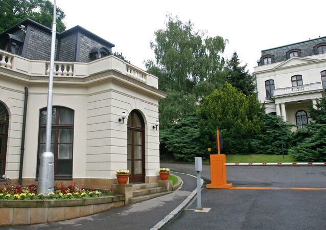 The building of the Russian Embassy in Prague, Czech Republic.