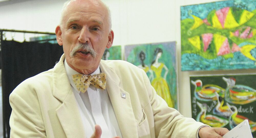 Janusz Korwin-Mikke, leader of the far right and eurosceptic Congress of the New Right Wing party
