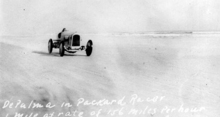 An early attempt at breaking the land speed record. Ralph DePalma in Florida in 1919.