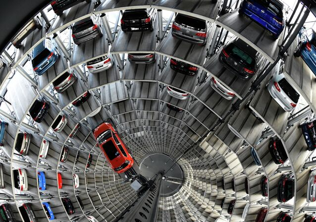 A VW Golf is pictured inside the so-called cat towers of car manufacturer Volkswagen AG (VW) at the company's assembly plant in Wolfsburg, northern Germany