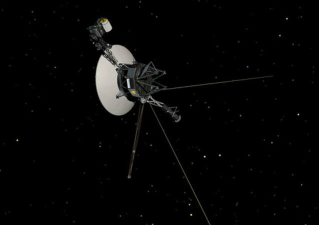 This artist's concept shows NASA's Voyager spacecraft against a backdrop of stars.