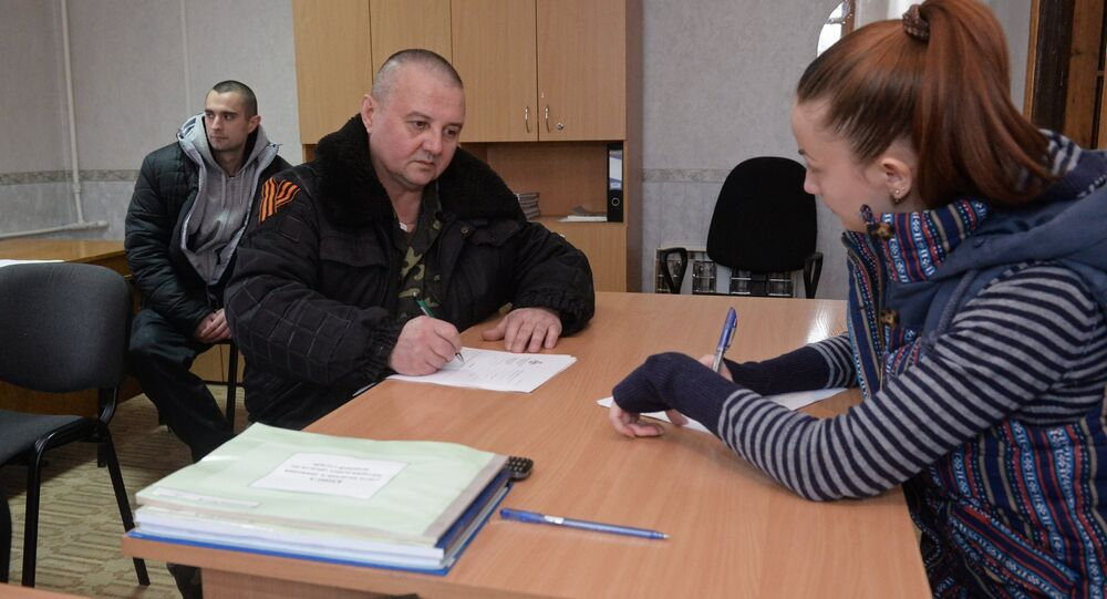 Self-defense fighters in the military commissariat in Donetsk