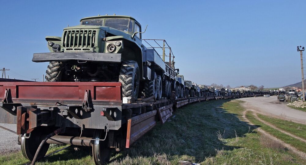 Military machinery prepared for shipment to Ukraine