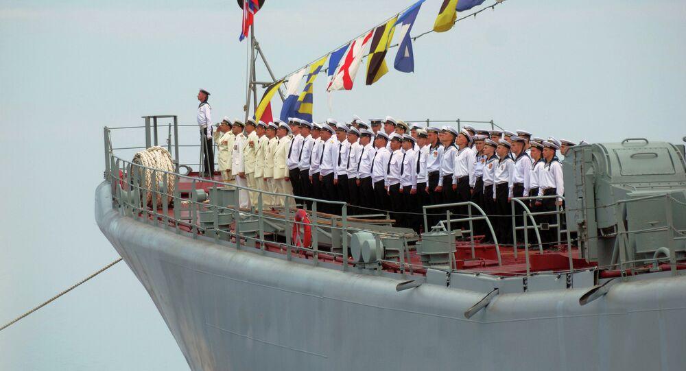 Servicemen of the Black Sea Fleet during Navy Day parade rehearsal in Sevastopol
