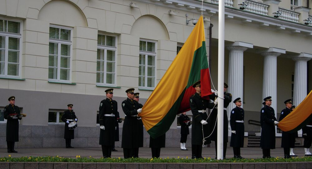 Lithuanian flag rising at the President Palace