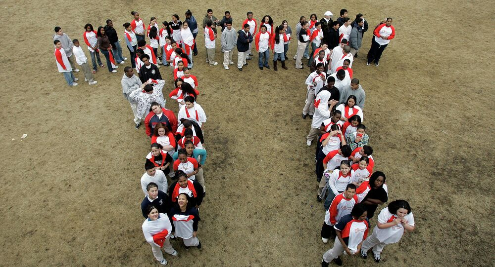 In this March 13, 2007 file photo, students from the Maurice J. Tobin School makes a human Pi symbol at the school in Boston during a celebration of Pi Day