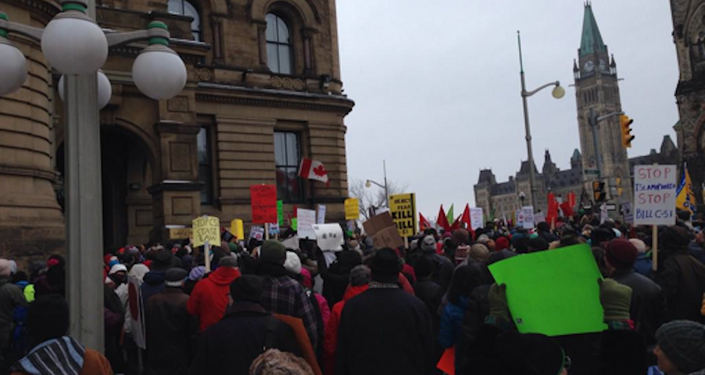 Big crowd outside the PMO in Ottawa to StopC51