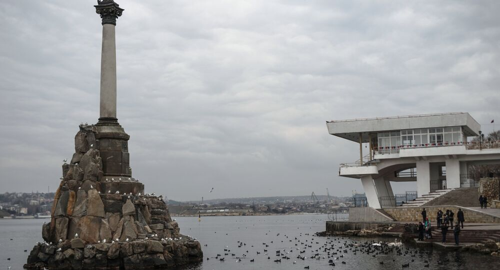 View of the Monument to Sunken Ships and the Sevastopol quay.