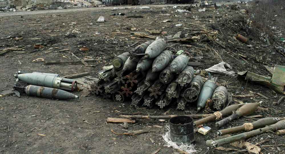 Ammunition lie on a road in the village of Chornukhyne near the town of Debaltseve, north-east from Donetsk