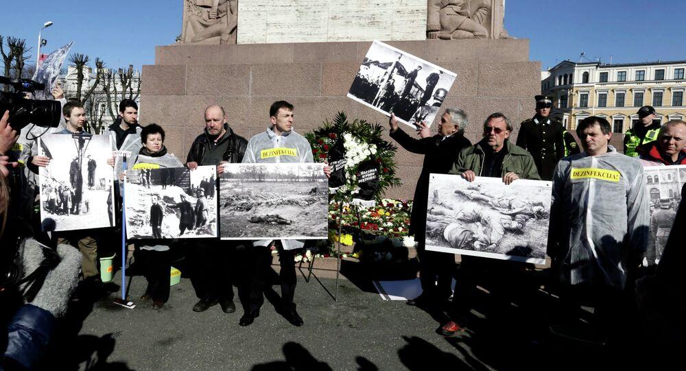 The annual procession commemorating the Latvian Waffen-SS (Schutzstaffel) unit