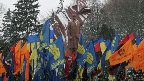 Monument to OUN leader Stepan Bandera unveiled in Ternopil, Ukraine - Sputnik International
