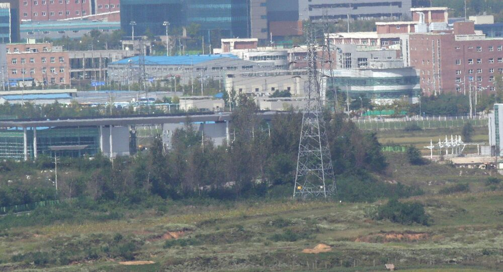 The industrial complex in Kaesong is seen from the Dora Observation Post in Paju near the border village of Panmunjom, which has separated the two Koreas since the Korean War, in Paju, north of Seoul, South Korea.