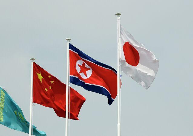 North Korean and South Korean Flags