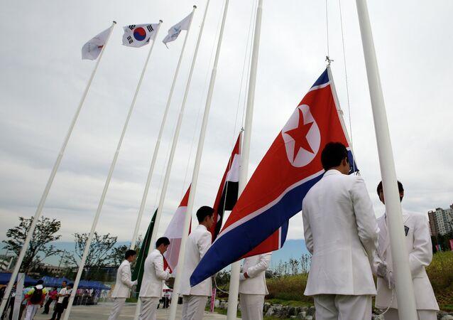 North Korea and South Korea flags