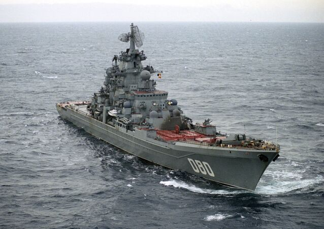 Heavy nuclear missile-bearing cruiser Admiral Nakhimov in the Barents Sea. The Northern Fleet of Russia.