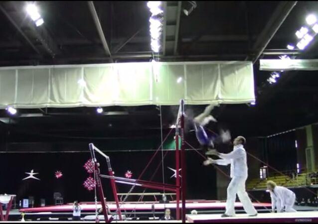 Coach saves a gymnast
