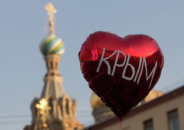 Rally to mark anniversary of Crimea's reunification with Russia in St. Petersburg