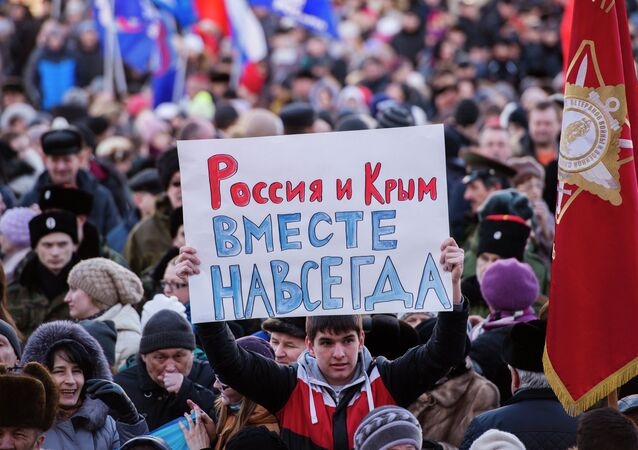 Rally to mark anniversary of Crimea's reunification with Russia in Omsk