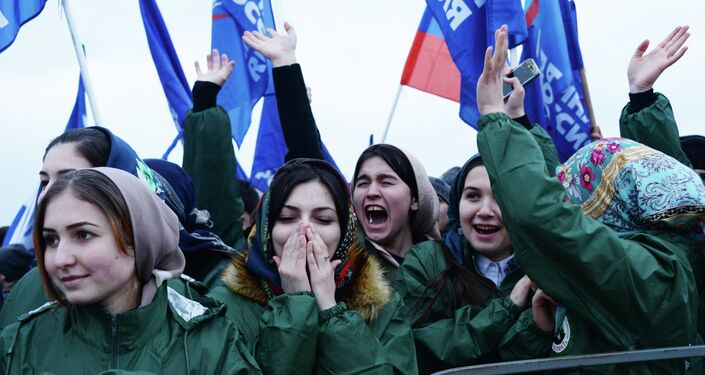 Rally to mark anniversary of Crimea's reunification with Russia in Grozny