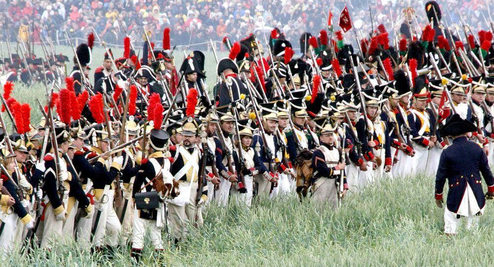 Reenactment of the battle of Waterloo in Belgium