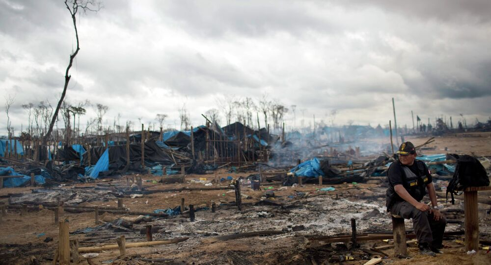 A policeman sits on a log at an illegal mining camp burned to the ground as part of an operation to eradicate illegal mining in the area known as La Pampa, in Peru's Madre de Dios region.