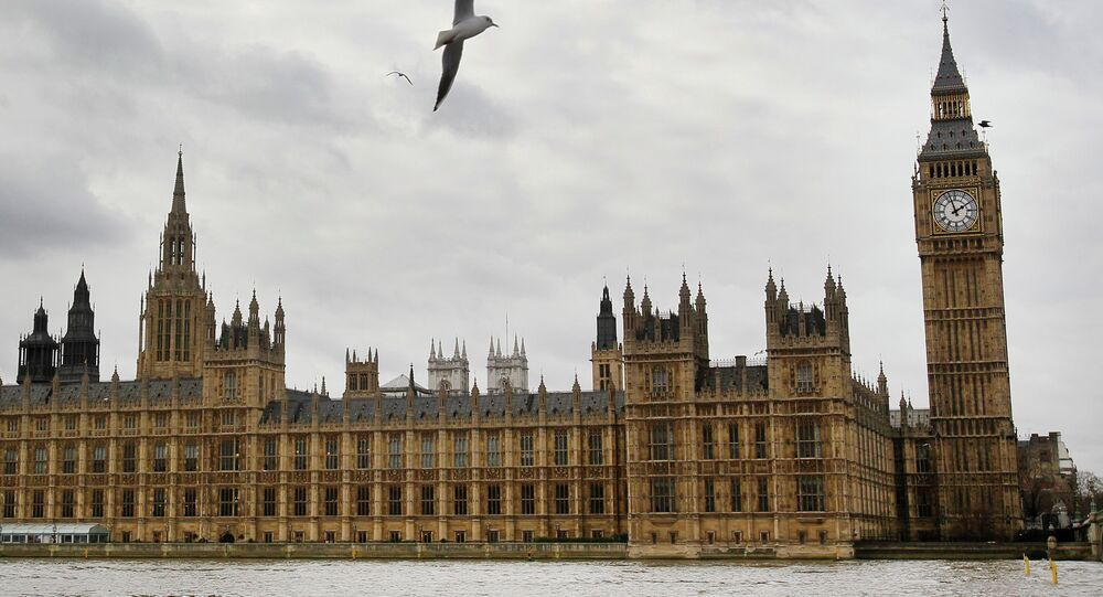 The Palace of Westminster including St Stephen's Tower housing the famous Big Ben clock in London