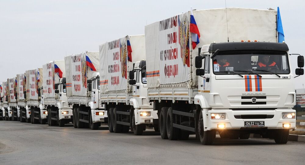 The trucks from the next column of Emercom of Russia with humanitarian aid for inhabitants of Donbass on the Matveev Kurgan check point in the Rostov region
