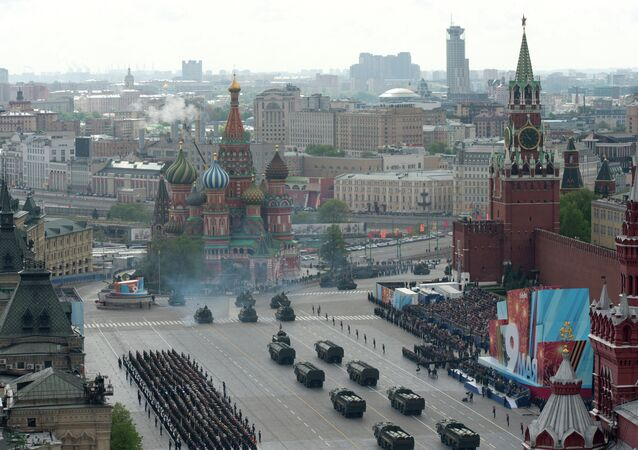 A full dress rehearsal of the V-Day Parade on Red Square, Moscow