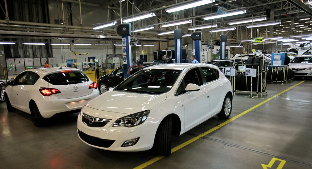 Opel Astra compacts manufactured at the General Motors plant in the Shushary-2 production zone