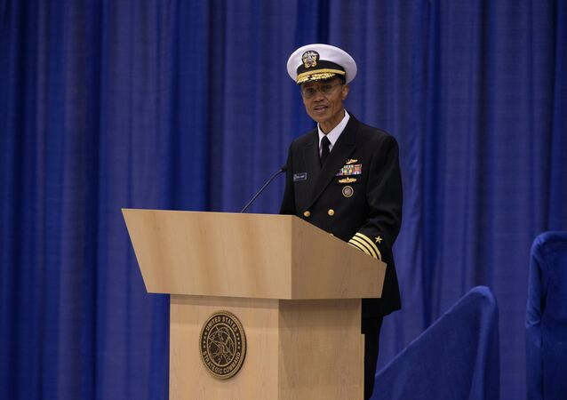 Incoming commander of the US Strategic Command Admiral Cecil Haney speaks during a change of command ceremony held at Offutt Air Force Base in Bellevue