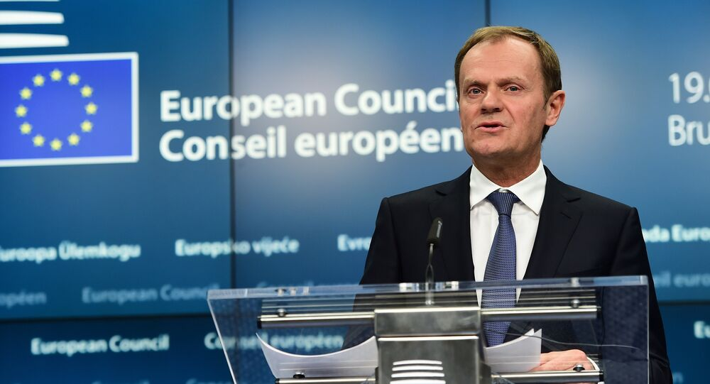 European Council President Donald Tusk responds to questions during a press conference ahead of a European leaders summit at the European Council, in Brussels on March 19, 2015