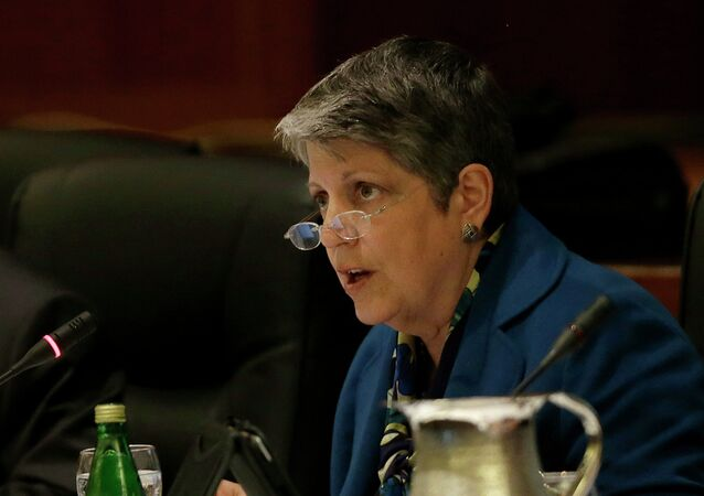 University of California president Janet Napolitano speaks while giving a briefing on the progress she and Gov. Jerry Brown have made in ironing out their differences over UC's budget during a UC Board of Regents meeting in San Francisco, Wednesday, March 18, 2015.
