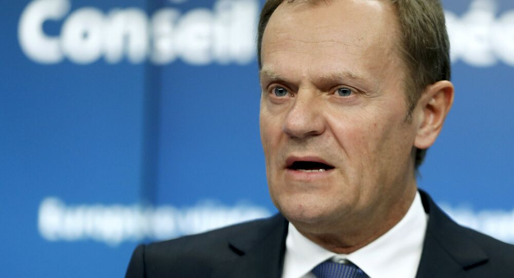European Council President Donald Tusk addresses a news conference after a Tripartite Social Summit ahead of a European Union leaders summit in Brussels March 19, 2015