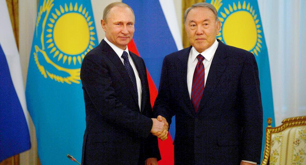 March 20. 2015. President Vladimir Putin (left) and President of Kazakhstan Nursultan Nazarbayev during a meeting at the Akorda residence