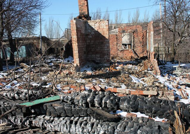 Cottages where people lived destroyed by shelling in Gorlovka in Donbass