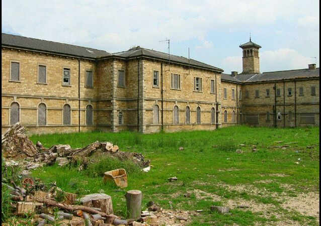 This shot shows an exercise yard at the former St Johns Hospital, Bracebridge Heath, Lincolnshire (UK)