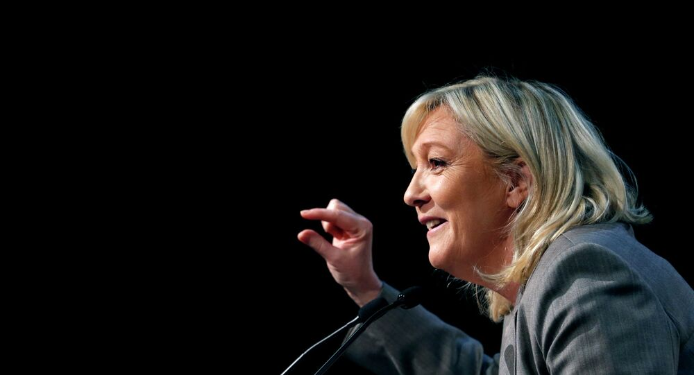 France's far-right National Front political party leader Marine Le Pen delivers a speech during a political rally in Six-Fours, near Toulon South Eastern France, March 16, 2015