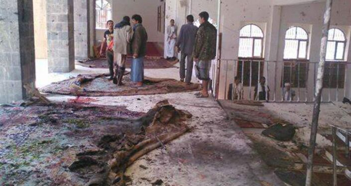 Damage from the attack on a Mosque in Sanaa on March 20, 2015. A Sputnik correspondent took these photos at the scene of the explosion.