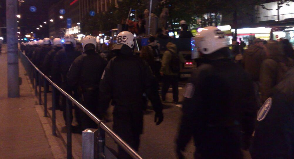 Lined with riot police