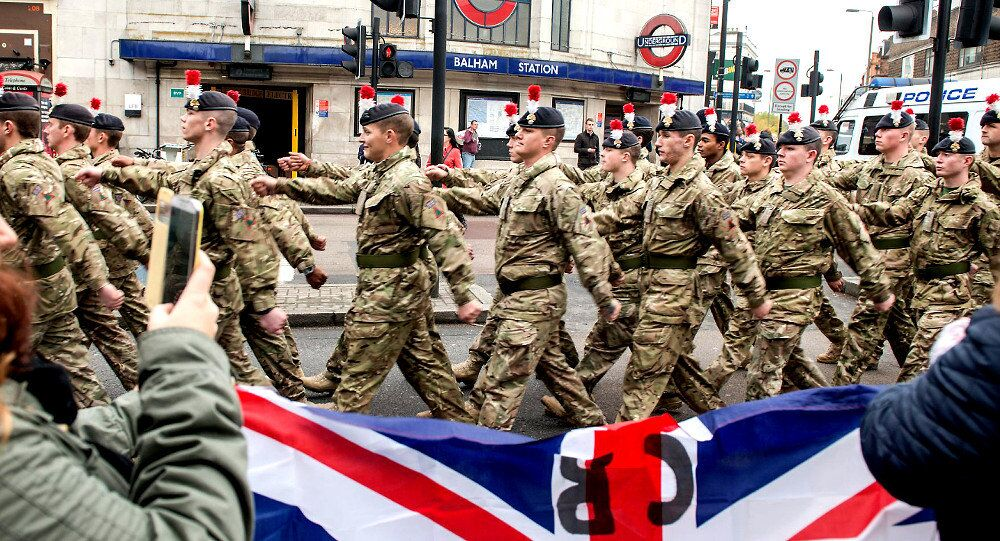 Soldiers of 1RRF March Through Balham, London