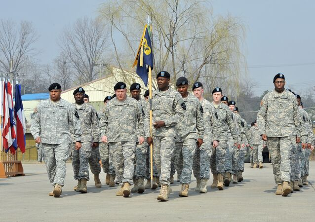 Soldiers of the US Army's 23rd Chemical Battalion march during a ceremony to recognise their official return to the 2nd Infantry Division located in South Korea