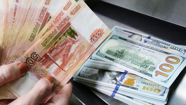 US dollars and rubles inside a currency exchange office of a Sberbank - Sputnik International
