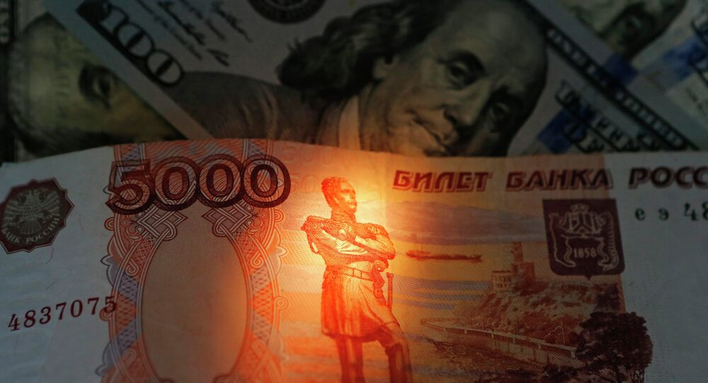 Banknotes of US dollars and rubles
