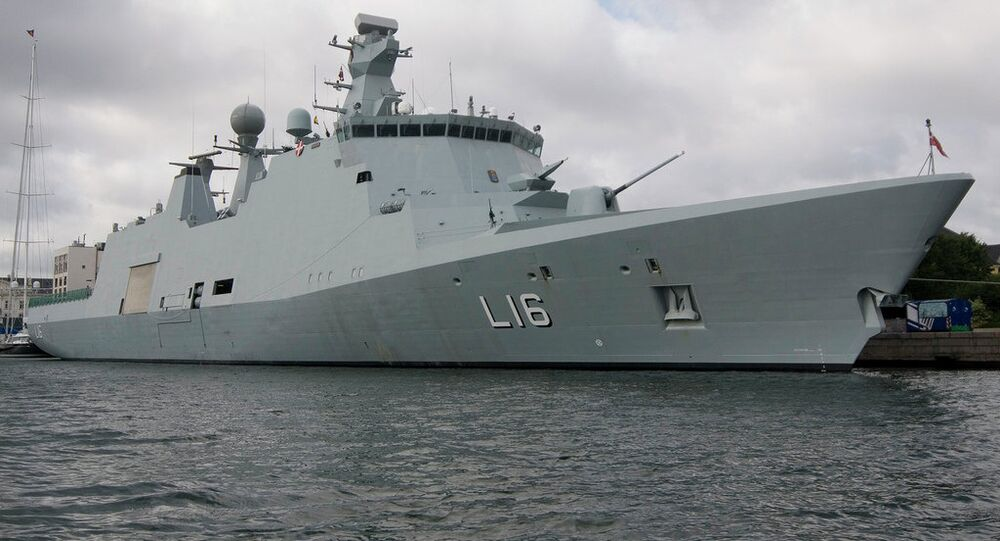 The danish navy command and support ship Absalon (Absalon class)