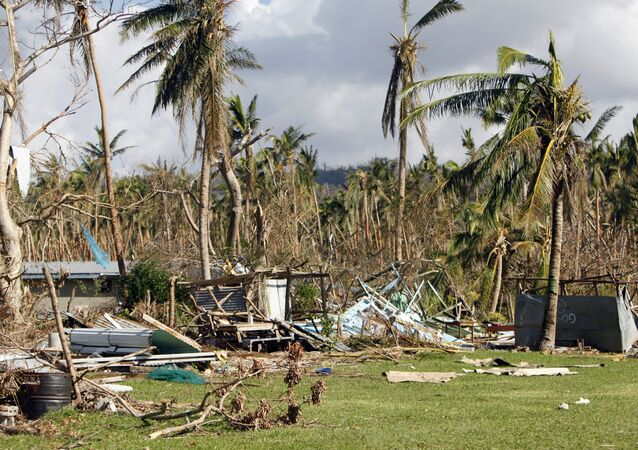 Former staff homes at the Manua Centre School lie in ruin on the island of Efate, Vanuatu