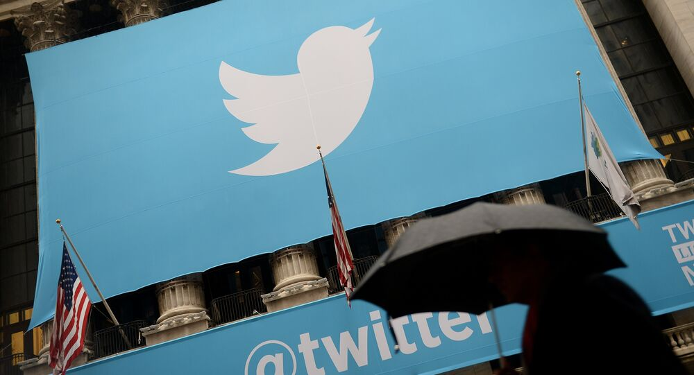Twitter on the front of the New York Stock Exchange (NYSE) in New York