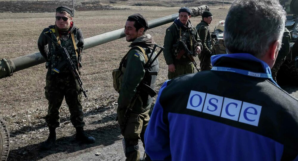 A member of Special Monitoring Mission of the Organization for Security and Cooperation (OSCE) to Ukraine walks along a convoy of Ukrainian armed forces in Blagodatne, eastern Ukraine, February 27, 2015