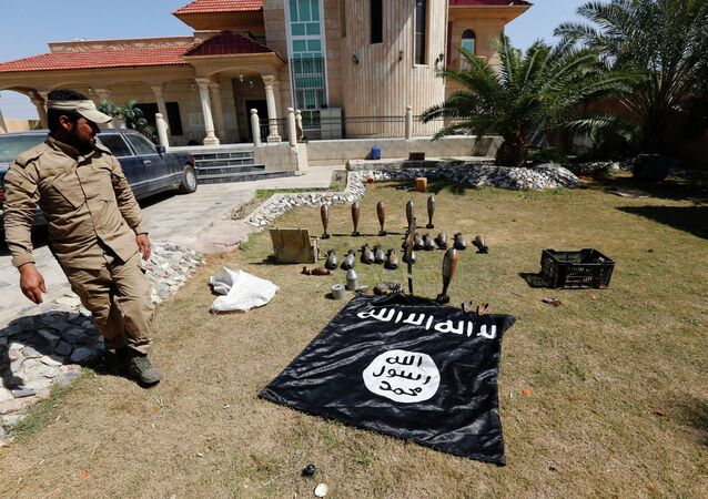 Islamic State flag and ammunition