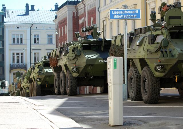 In an interview for Finnish television, Finland's Finance Minister voiced his view that now is not the right time for Finland to join the Western military alliance, Finnish Broadcasting Company YLE reports. Photo: Finnish Defense Forces armored vehicles in Helsinki, Finland.