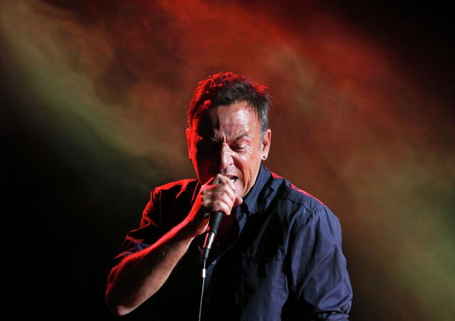 Musician Bruce Springsteen performs during the Stand Up for Heroes event at Madison Square Garden